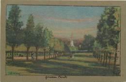 - Royaume Uni - Ref- A688 - Londres - London - Green Park - Carte Illustree - Illustrateur J R Way -carte Bon Etat - - London