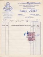 Facture André Désert à Evreux, Electricité Automobile - 1900 – 1949