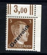 AUTRICHE OSTERREICH 1945, Yvert 534**, 3p Hitler Surchargé, Neuf / Mint** Coin De Feuille - 1918-1945 1ère République
