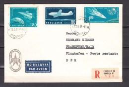Bulgaria 1961,3V On Registered Cover To Germany,aerospace,ruimtevaart,luft Und Raumfahrt,de L'aérospatiale  (L2154) - Europe
