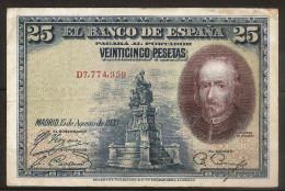 25 Pesetas 15/08/1928. Spain/ Espagne. (Calderon De La Barka) - 1-2-5-25 Pesetas