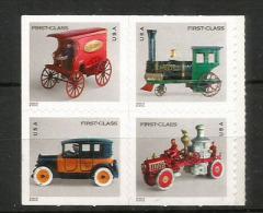 ETATS-UNIS. Jouets Anciens. (vehicule De Pompiers,taxi,locomotive,etc) Bloc De 4 Timbres Neufs ** Autocollants - Kind & Jugend