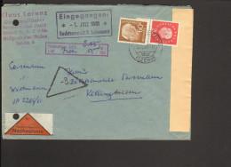 BRD Heuss II 60 Pfg.u.20Pfg.Heuss III Unterandstück Auf Nachnahmebrief Aus Heiligenstedten 1961 - BRD