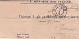 04348 Lemberg Lwow Letter C.k. Sad Krajowy Karny We Lwowie Metryka - ....-1919 Provisional Government