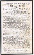 IEPER - NOORDSCHOTE QUIMPER (Fr. Bretagne)  , Doodsprentje Van Zuster JOANNA (Louise HONDEGHEM )+ 1916 - Religion & Esotericism