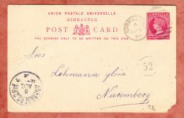 Ganzsache, P 16 Koenigin Viktoria, Duplexstempel Gibraltar, Nach Nuernberg, AK- + Botenstempel Bhf + 52, 1896 (28206) - Gibraltar