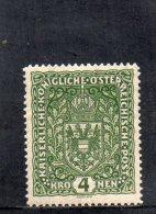 AUTRICHE 1916-8 ** VERT FONCE�