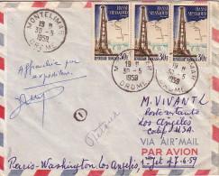 DROME - MONTELIMAR - 30-5- 1959 - AFFRANCHISSEMENT A 90F POUR LOS ANGELES. - Postmark Collection (Covers)