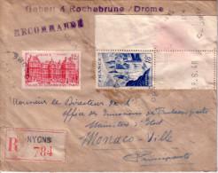 DROME - NYONS - LEETRE RECOMMANDEE POUR MONACO - AFFRANCHISSEMENT A 30F - LE 21-12-1948. - Postmark Collection (Covers)