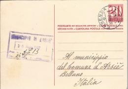 1947 Svizzera - Cartolina Postale Con Risposta Pagata - Ennenda Per Arsiè - Marcophilie