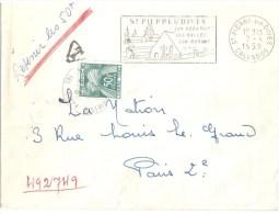 3371 St Pierre Sur DIVES Calvados Lettre Non Affranchie Ob 1959 Taxe Double Insuffisance Gerbes 50 F Yv T 88 - Strafport