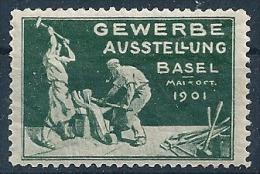"""Vignette  """"Gewerbe Ausstellung Basel""""             1901 - Schweiz"""
