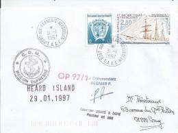 T.A.A.F   Lettre  Du  31 Janvi  1997 Escale  à  Port Aux França  En KERGUELEN  Par Transport Maritime Le Marion Dufresne - Research Stations