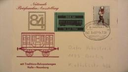 DDR: Karte Mit 10+5 Pf  Salzträger -Bahnpostst. HALLE (SAALE) ZUG 3507 Mit So-Beförderung Vom 14.7..84 Mit Entspr.Cachet - [6] République Démocratique