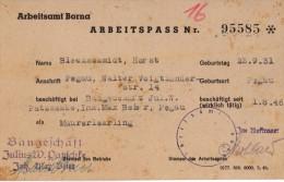 Bureau International Du Travail Borna - Carte N ° 95585 - Blechschmidt Horst  23.09.1931 - Arbeitsamt Borna - 1946 - Alte Papiere