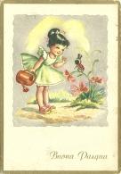 BUONA PASQUA  Bambina Con Innaffiatoio Saluta Coccinella Con Tuba  Fiori - Pasqua