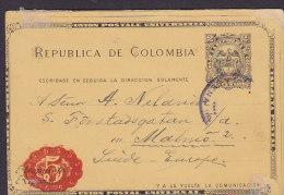 Colombia UPU Postal Stationery Ganzsache Entero Respuesta Response 1913 MALMÖ Sweden (2 Scans) - Colombia