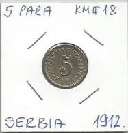 Gh6  Serbia 5 Para 1912. KM#18 - Serbie