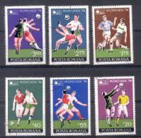 ROUMANIE RUMANIA COMPLETE SET YVERT NRS. 2846-51 FOOTBALL FUTEBOL MUNCHEN 1974 - 1948-.... Repúblicas