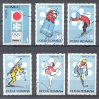 ROUMANIE RUMANIA COMPLETE SET YVERT NRS. 2652-57 SAPPORO 1972  SPORTS DEPORTES OBLITERES TBE - 1948-.... Repúblicas