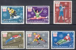 ROUMANIE COMPLETE SET YVERT NRS. 2937-42 INNSBRUCK 1976 OLYMPICS OLIMPIADAS - 1948-.... Repúblicas