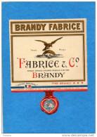 Alcoll-BRANDY-étiquette - Neuve- Bouteille-BRANDY - FABRICE &Cie - Etiquettes