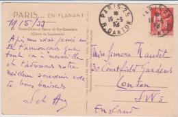 Paix 90ct Rouge Paris Danton 1933 Pour Londres Angleterre Notre Dame Et Statue Saint Geneviève - 1932-39 Frieden