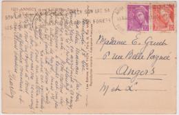 Mercure 20ct Et 60ct Annecy Haute Savoie 1939 Talloires Roc De Chère - 1938-42 Mercure