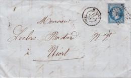 1861. LETTRE. N° 14. CHARENTE INFERIEURE MARANS PC 1860 / 6835 - 1849-1876: Période Classique