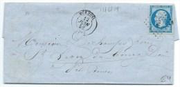 N° 14 BLEU NAPOLEON SUR LETTRE / MOREUIL POUR SAINT LEGER DU BOURG DENIS / 12 JUIN 1858 - 1849-1876: Période Classique
