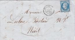1861. LETTRE. N° 14. CHARENTE INFERIEURE  MARANS PC 1860  / 6839 - 1849-1876: Période Classique