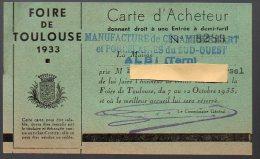 Carte D'acheteur FOIRE DE TOULOUSE 1933 (PPP21347) - France