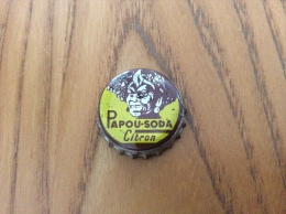 """Ancienne Capsule de soda (rare) """"PAPOU SODA Citron"""" (int�rieur li�ge)"""