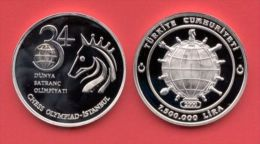 AC - 34 TH CHESS OLYMPIAD COMMEMORATIVE SILVER COIN, ISTANBUL TURKEY , 2000 PROOF UNCIRCULATED - Türkei