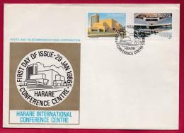 ZIMBABWE, 1986, Mint FDC, Harare Conference, Mi 338-339   ,F974 - Zimbabwe (1980-...)