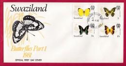 SWAZILAND, 1982, Mint FDC, Butterflies, Mi 392-395 , F993 - Swaziland (1968-...)