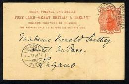 GB 1895 Postal Stationery Postcard CP27 London SW Duplex To Lugano (Q525) - Stamped Stationery, Airletters & Aerogrammes