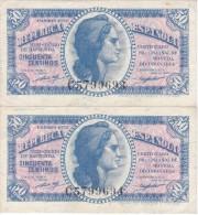 PAREJA CORRELATIVA DE 50 CTS DEL AÑO 1937 SERIE C (MUY RARA) CALIDAD EBC (XF) - [ 3] 1936-1975 : Régimen De Franco