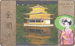 T�l�carte dor�e Japon - GEISHA / Ombrelle Pagode - Femme Art Tradition - Japan GOLD phonecard Telefonkarte girl - 2136