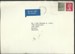 Great Britain Airmail 191/2p Olive Gray, 26p Postal History Cover Sent To Pakistan. - Great Britain