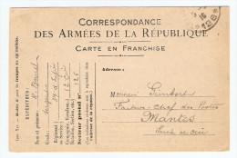 CARTE FM FRANCHISE MILITAIRE 4 JUIN 1916 SERGENT BOUREL 37 ème INFANTERIE 12 ème Cie POUR MANTES  - 2 Scans - - Marcophilie (Lettres)