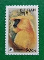 BHUTAN, WILD LIFE, ENDANGERED SPECIES GOLDEN LANGUR, MONKEY, WWF, 50Ch, MNH - Bhutan