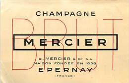 A16-3208 : EPERNAY CHAMPAGNE MERCIER ETIQUETTE AVEC TARIF AU DOS - Epernay