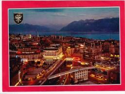 Le Grand Pont Et La Tour Bel`Air Soir,Ouchy, Lausanne, Vaud, Switzerland,L31. - VD Vaud
