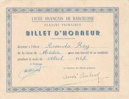 LYCEE FRANCAIS DE BARCELONE BILLET D' HONNEUR - Diplomi E Pagelle