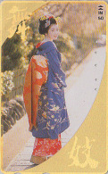 T�l�carte dor�e Japon - GEISHA - Femme Tradition - Japan GOLD phonecard Telefonkarte girl - Frau TK 2144