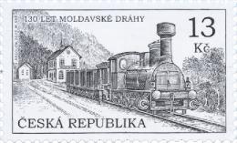 Czech Rep. / Stamps (2015) 0849: Moldava-Saxony Connection Railway (1885), Railway Station Dubi; Painter: Adolf Absolon - Trains
