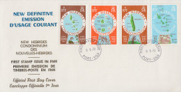 Enveloppe FDC  1er Jour   NOUVELLES  HEBRIDES   Cartographie  Des  Iles   1978 - FDC