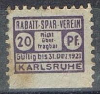 Sello Privat KARLSRUHE 1921, 20 Pf. Rabatt Spar Verein º - Poste Privée