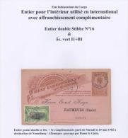 BELGIAN CONGO  EP 16 MATADI 29.05.1902 VERS NAUMBURG GERMANY - Enteros Postales